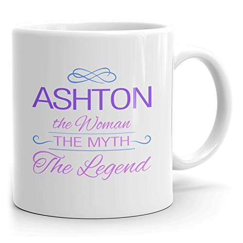 Ashton Coffee Mugs - The Woman The Myth The Legend - Best Gifts for Women - 11oz White Mug - Purple