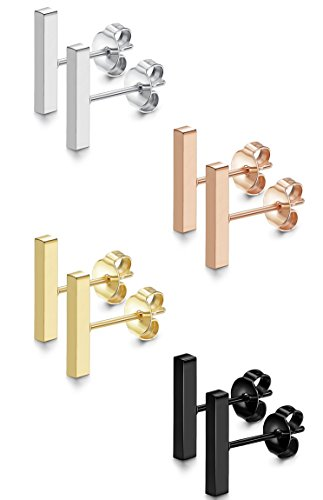 FIBO STEEl 4 Pairs Flat Bar Stud Earrings for Women Men Stainless Steel Earrings 6MM