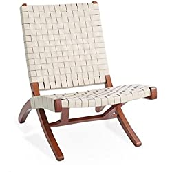 Ivory White Woven Leather Folding Safari Chair | Wood Mid Century Modern Accent