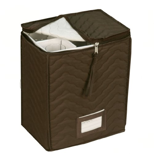 "Champagne Flute Glass Goblets Deluxe Storage Chest - Holds 6 Stemware Glasses - Quilted Microfiber - Protect Your Valuable Glassware from Dings, Scratches And Cracks -Brown -11""X 9.25""X 6"""