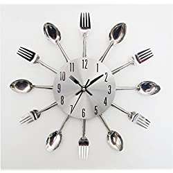 Clock,Tosangn Sliver Cutlery Kitchen Design Spoon Fork Wall Clock