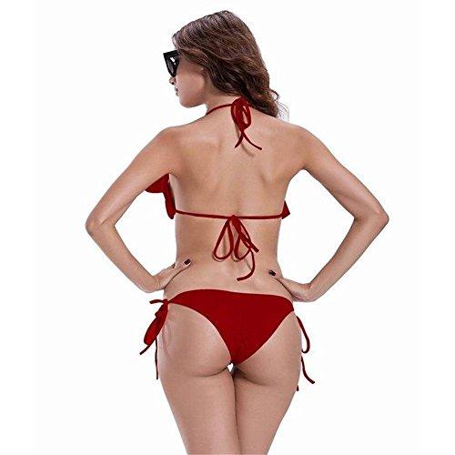Split traje de baño hoja de loto baja cintura correa bikini 3