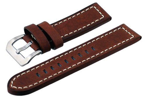 REV #ITAL264-3 Panerai Style 24mm Lug Width Brown Thick Genuine Leather Replacement Band (Replica Panerai)