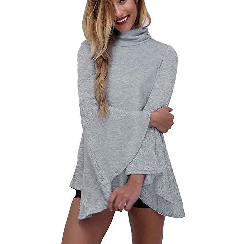 Flare Turtleneck (Morecome Women's Autumn Winter Turtleneck Fashion Flare Sleeve Loose Lrregular Hem Tunic Tops Gray)
