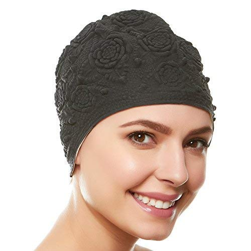 (Beemo Women Swim Bathing Caps Ladies Retro Style Latex Embossed- Black)