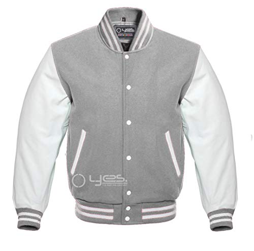 Letterman Baseball Football Sports Varsity Jacket Wool & Genuine Leather Grey/White (6XL)