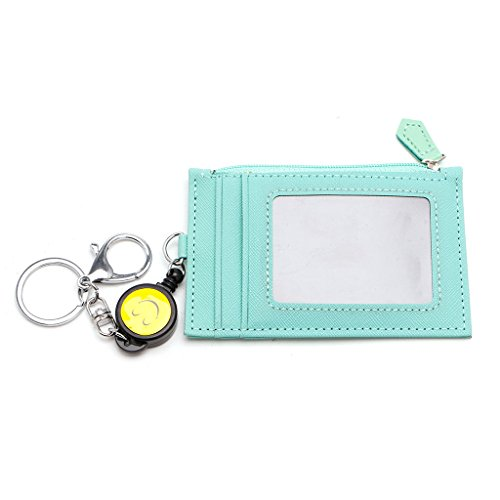 Qupida Business Credit ID Badge Card Holder Coin Purse Retractable Reel Keychain Gift (Mint Green)]()