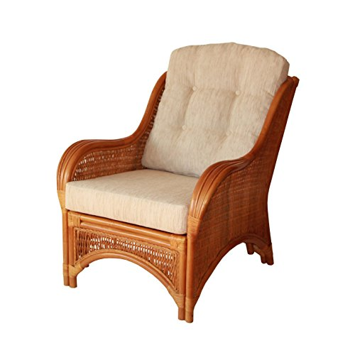 Lounge Arm Chair ECO Natural Handmade Rattan Wicker with White Cushions Color Gognac (Light Brown)