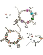 Bracelet Making Kit, DIY Making and Crafting Coloured Bead,Silver Plated Snake Chain Bracelet for Girls (DIY-3pcs)