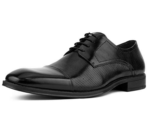 Asher Green Men's Genuine Leather Oxford Lace Up with Perforations and Smooth Cap Toe Dress Shoe, Style AG135 Black
