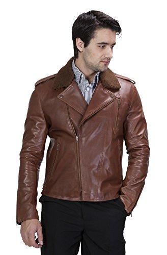 United Face Mens Fur Collar Lambskin Leather Biker Jacket...
