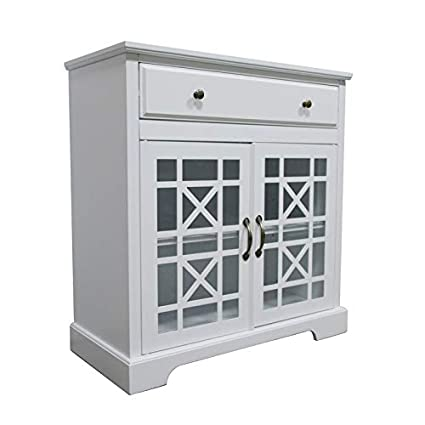 NB Liner Double Glass Cabinet Standing Storage Cabinet for Bedroom Living  Room, White