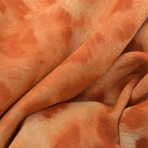 The Leather Guy - Fashion Leather Calf Hide 6.3 SqFt Airbrushed Orange Cheetah 2 oz Suede - O