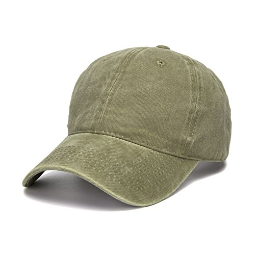 WINCAN Vintage Washed Dyed Cotton Twill Low Profile Adjustable Baseball Cap (Army Green) - Army Twill
