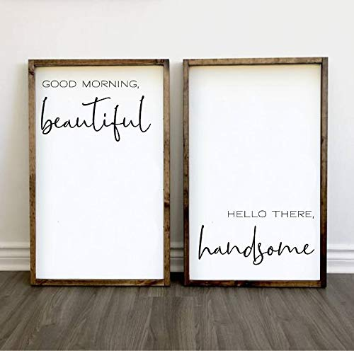 bawansign Good Morning Beautiful Hello There Handsome Wood Signs Large Set of Wood Signs Bedroom Wall Art Master Bedroom Decor Farmhouse Style