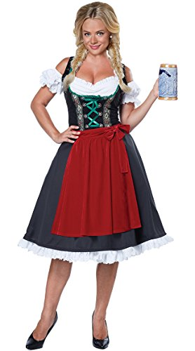 Beer Maiden Costume (California Costumes Women's Oktoberfest Fraulein Costume, Black/Red,)