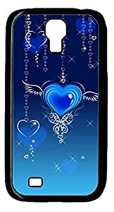 Abstract Blue Heart Fly DIY Hard Shell Black Designed For Samsung Galaxy S4 I9500 Case Kimberly Kurzendoerfer