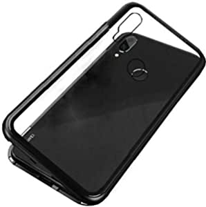 Xiaomi Redmi Note 7 Magnetic Case 360 Degree Two Pieces Metal Blank Front Cover Glass Back Cover - Black