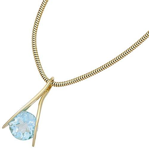 Pendentif Or jaune 375/1000avec Topaze bleue Topaze Bleu ciel bleu clair femme