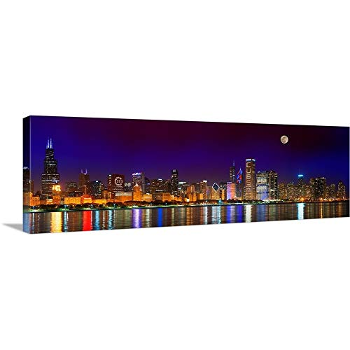 (Solid-Faced Canvas Print Wall Art Print Entitled Chicago Skyline with Cubs World Series Lights Night, Moonrise 60