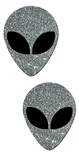 Alien: Silver Glitter with Space Alien Black Eyes Pasties ()
