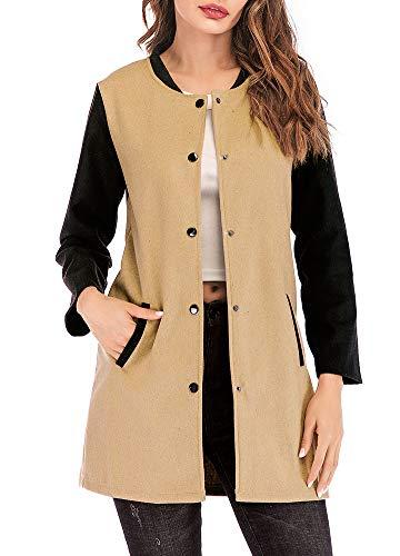 Romacci Womens Long Sleeve Button Paneled Woolen Casual Long Blazer Cardigan Jackets Coat from Romacci