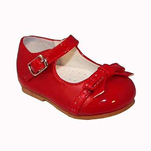 sevva Carol Baby Infant Kleinkind Patent Harte Sohle Erste Walking Schuh. Erhältlich in Größen UK, 2–6(Euro 18–22) Farben rot, weiß, creme, rosa, schwarz und camel. (UK, 6rot)