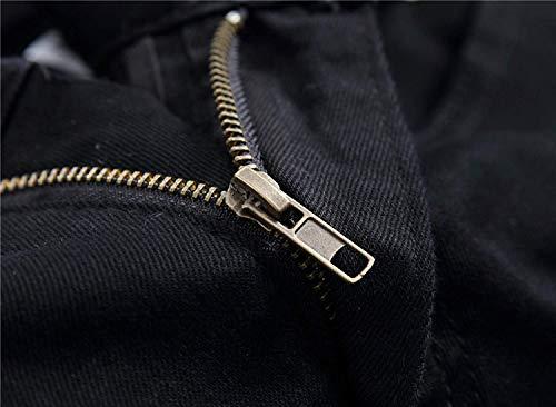 Vita Cinturino Elasticizzati Media Dritti A Jeans Denim Uomo Micro Vintage Casual Bomb Nero Giovane Skinny Senza Da Pantaloni In 0x8vqT1w