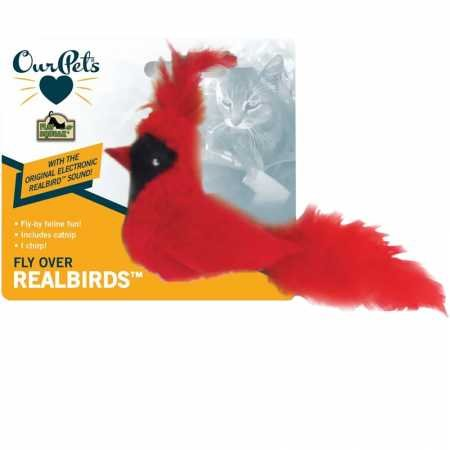 OurPets Play-N-Squeak Real Birds Fly Over Interactive Cat Toy (Night Bird That Sounds Like A Cat)