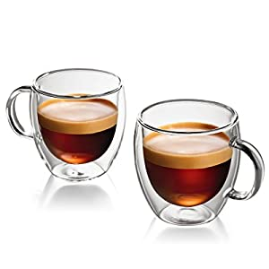 Espresso Cups Set Of 2 By Famaid: 5.4oz Coffee Mugs, Handmade With Clear And Smooth Glass, Double Walled For Insulation And Comfortable Grip, Stylish Design, Demitasse Cups For Cappuccino And Latte