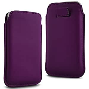Direct-2-Your-Door - Samsung Galaxy Alfa Prima Soft PU Funda de cuero Flip Tire Tab Case - púrpura oscuro