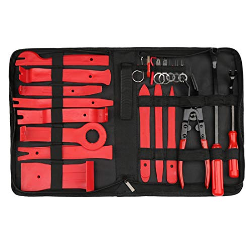 uxcell Car Trim Removal Tool Set Nylon Red Panel Dash Audio Radio Tire Valve Repair Kits 22 in 1