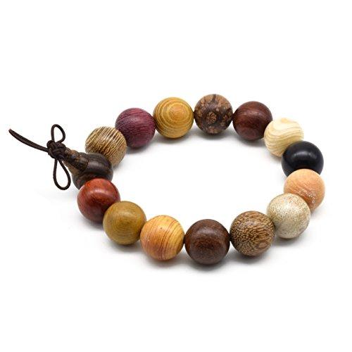- Zen Dear Unisex Natural Colorful Wood Buddhist Prayer Beads Bracelet Necklace Tibetan Mala Prayer Beads (15mm 15beads)