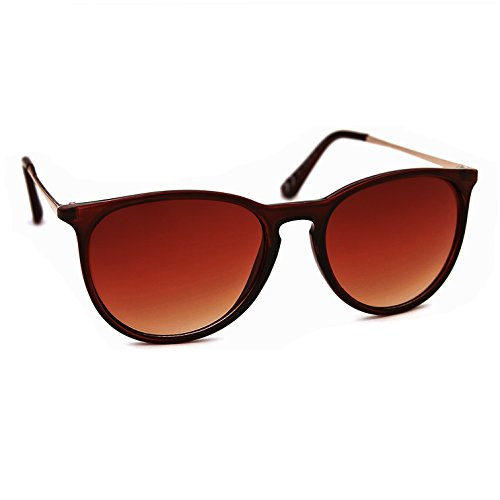 JOOX Women's Classic Round Plastic Sunglasses and 100% Uv Protection Lens (Shiny crystal brown/Brown gradient, - China Sunglasses