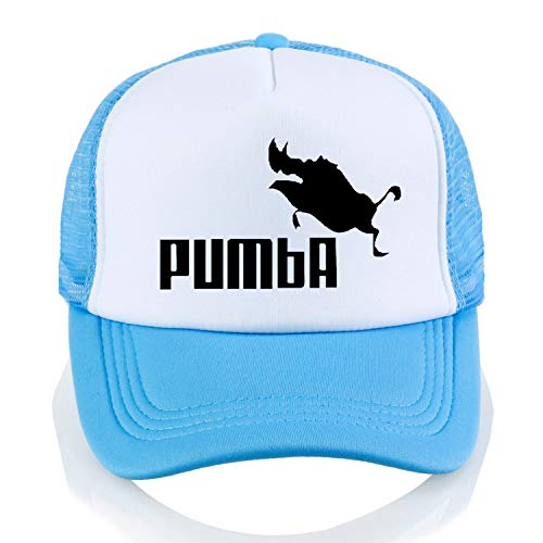 LONIY Men and Women Homme Pumba Baseball caps Casual Letter Print Cartoon hat Summer Adjustable Mesh Trucker Cap Sky Blue ()