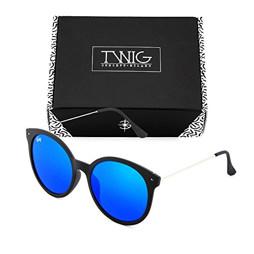 Azul sol redondo Gafas mujer de Negro TWIG espejo REMBRANDT CwUpfF