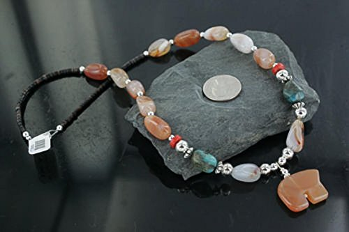 $290 Bear Fetish Certified Authentic Navajo .925 Sterling Silver Natural Carnelian Turquoise Native American Necklace -