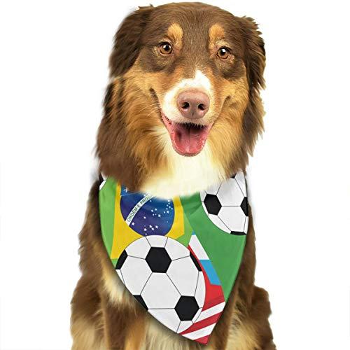 ZZJIAK Dog Bandana Scarf Soccer with Flag Triangle Bibs Printing Kerchief Set Accessories Dogs Cats Pets