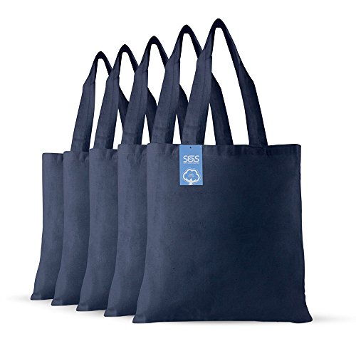 Simply Green Solutions Blank 100% Cotton Fabric Reusable Cloth Bags - Set of 5 - Tote Bags for School, Tote Bags for Grocery Shopping, Fun Promotional Items or Eco-Friendly Reusable Bags ()