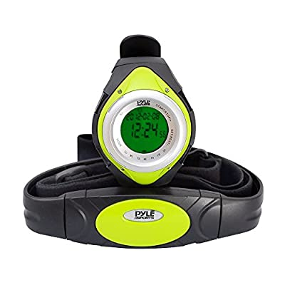 Pyle Fitness Tracker Watch with Heart Rate Monitor, Healthy Wristband Sports Pedometer Activity Tracker Steps Counter Stop Watch Alarm Water Resistant - with Calorie Counter and Target Zones (Green)