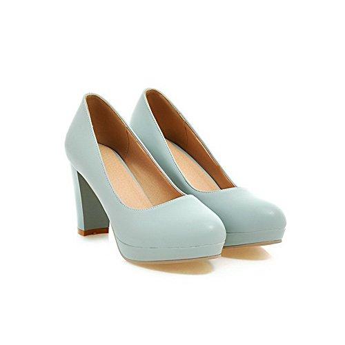 Odomolor Damen Ziehen auf Rund Zehe Hoher Absatz PU Leder Rein Pumps Schuhe Blau