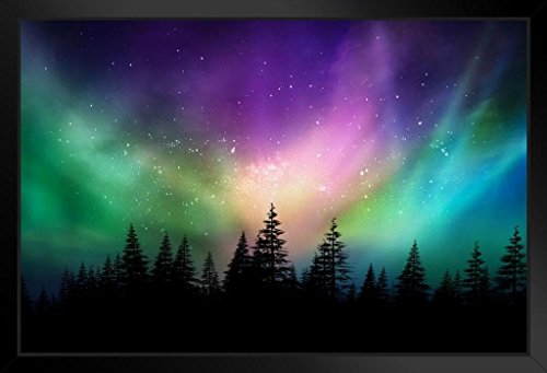 Aurora Borealis Northern Lights Over Canadian Forest Photo Art Print Framed Poster 20x14 inch