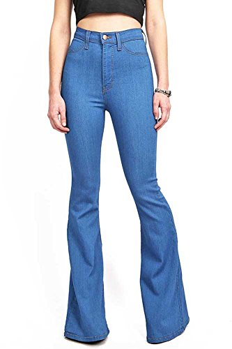 Vibrant Women's Juniors Bell Bottom High Waist Fitted Denim Jeans,Classic Denim,15