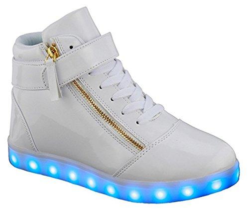 Le Donne High / Low Top Cuoio Dellunità Di Elaborazione Hanno Condotto Le Scarpe Sneaker Ricaricabili Usb Lampeggianti Di Modo Leggero Bianche_89