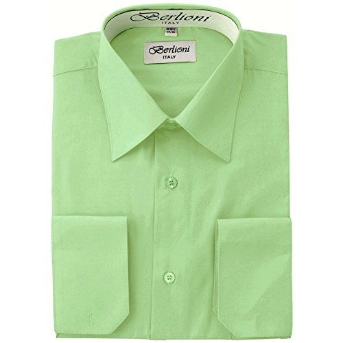Men's Dress Shirt - Convertible French Cuffs ,New Mint,Medium (15-15.5