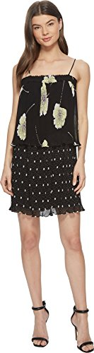 1.State Women's Mixed Print Pleated Slip Dress Rich Black Large (Pleated Slip)