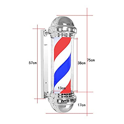 LED Barbers Pole Illuminating Rotating Salon Sign Light Red White 75cm Large Very Bright - Not Regular Bulbs