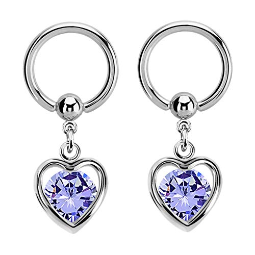 Pierced Owl Crystal Enclosed Heart Dangling Captive Bead Nipple Rings - Sold as a Pair (Lavender) ()