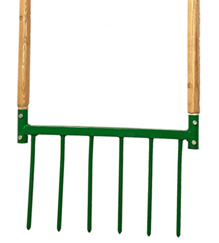 Broadfork Hand Tiller - Wooden Handles, Steel, Aerator, Weeder, Harvestor, Made in U.S.A. 1/2in Steel Tines, Gardening,, Pitch Broad Fork by Pro's Products