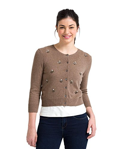 WoolOvers Womens Cashmere and Merino Embellished Crop Crew Knitted Cardigan Mink Marl, M (Cashmere Crop)